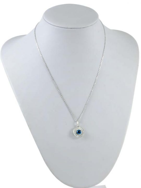 Sterling Silver 925 Blue Greek Evil Eye Necklace Good Luck Charm Pendant