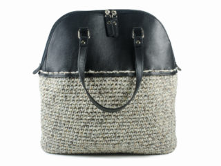 Hand-made crochet tote shoulder bag with Eco-leather finished top handle.