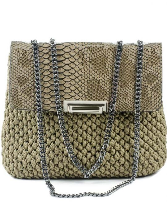 Hand-made crochet shoulder flap bag with Eco-leather finished top & nickel chain