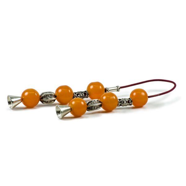 Vintage Sudurus Orange Mastic Greek Worry Beads Begleri 925