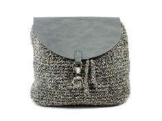 Handmade Crochet Light Gray Backpack Bag Eco Friendly Hand-knit Rucksack