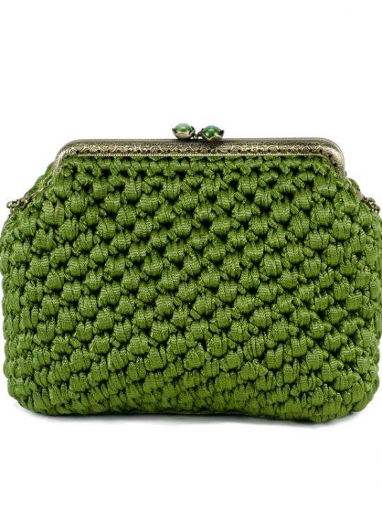 Convertible Clutch Bag Handmade Crochet Green Purse