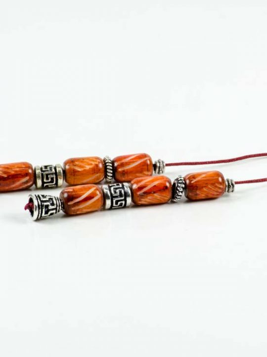 Orange Camel Bone Greek Worry Beads Begleri Greek Meander