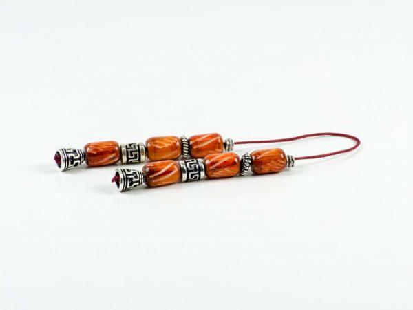Orange Camel Bone Greek Worry Beads Begleri Greek Meander