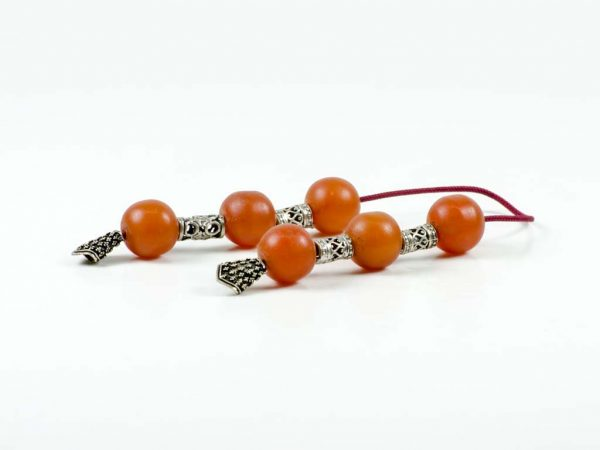 Vintage Sudurus Orange Mastic Greek Worry Beads Begleri Sterling Silver