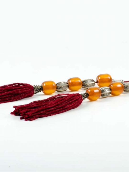 Vintage Sudurus Orange Mastic Greek Worry Beads Begleri Silver 925