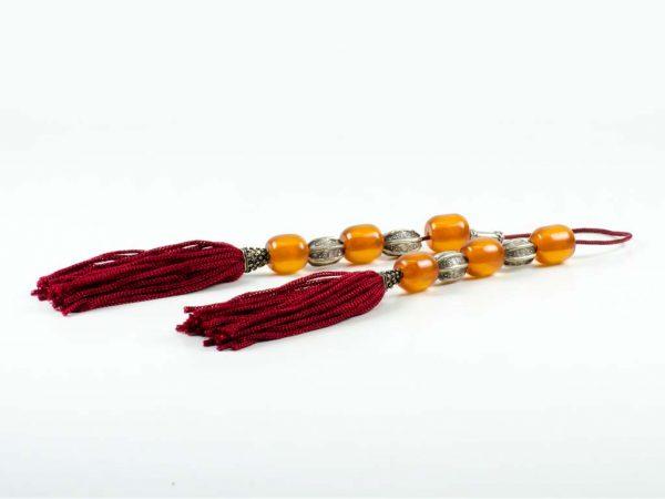 Vintage Sudurus Orange Mastic Greek Worry Beads Begleri Silver 925