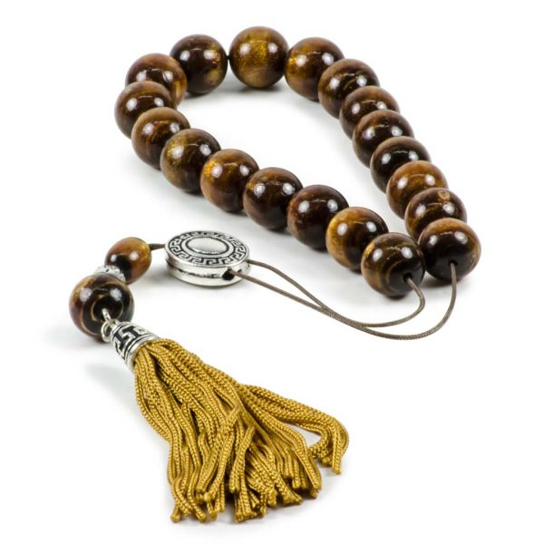 Natural Gold Brown Coral Yusr Greek Worry Beads Komboloi Meander Spacer