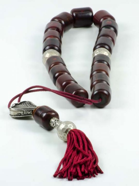 Vintage Red Brown Mastic Worry Beads Greek Komboloi Sudurus
