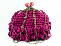 Clutch Bag Handmade Crochet Handbag Purple Purse