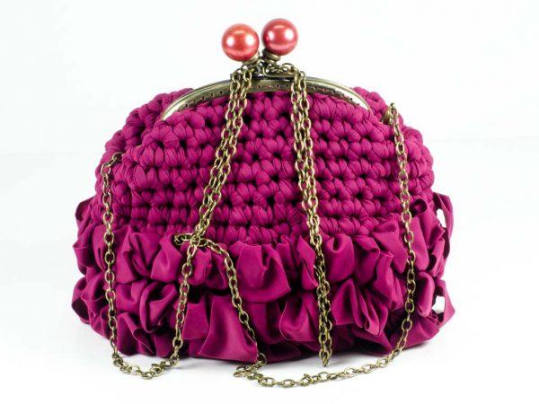 Clutch Bag Handmade Crochet Handbag Purple Purse