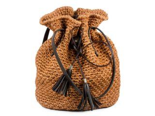 Handmade Crochet Light Brown Backpack Bag Eco Friendly Hand-knit Rucksack
