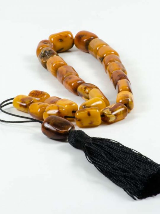 High Quality Royal Raw Authentic Amber Stone Greek Worry Beads