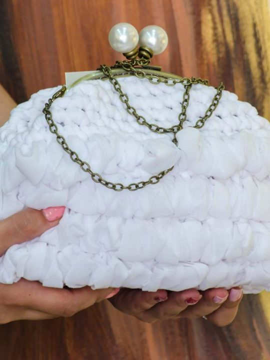 Clutch Bag Handmade Crochet White Bridal Handbag Purse