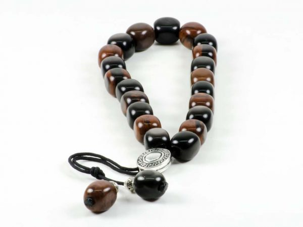 Black & Brown Obsidian Greek Komboloi Worry Beads Meander Silver Spacer