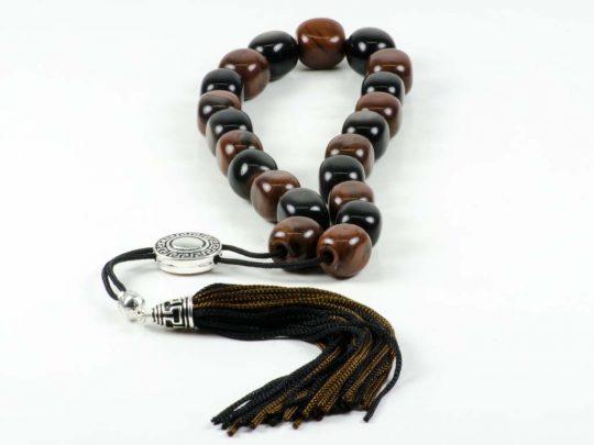 Black & Brown Obsidian Greek Komboloi Worry Beads Meander Spacer Tassel