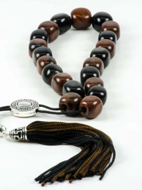 Black & Brown Obsidian Greek Komboloi Worry Beads Meander Spacer Tassel