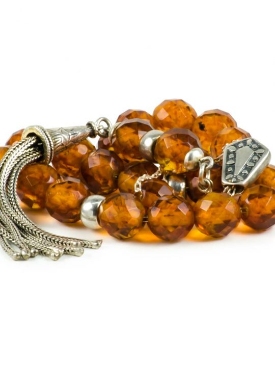 Faceted Baltic Amber Stone Greek Worry Beads Komboloi 925 Succinite