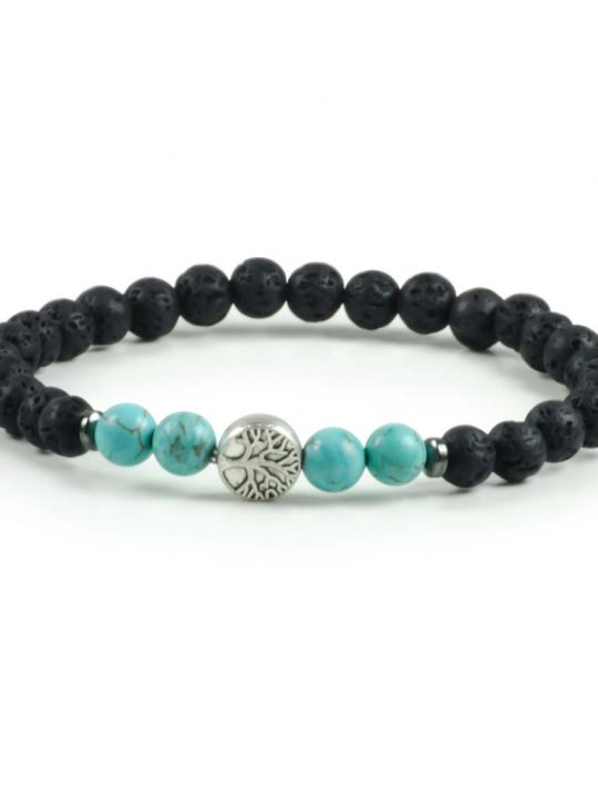Black Lava & Blue Turquoise Gemstone Stretch Bracelet Tree of Life