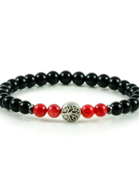 Black Onyx & Red Corals Gemstone Stretch Bracelet Tree of Life