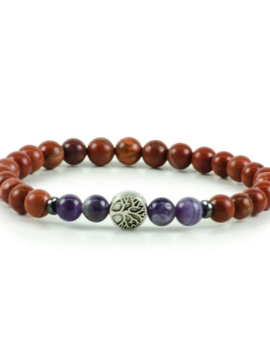 Amethyst & Jasper Gemstone Stretch Bracelet Tree of Life Unisex