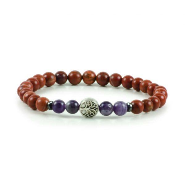 Amethyst & Jasper Gemstone Stretch Bracelet Tree of Life Unisex