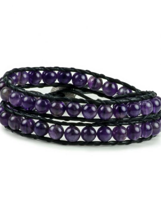 Amethyst Gemstone Handmade Double Wrap Leather Bracelet