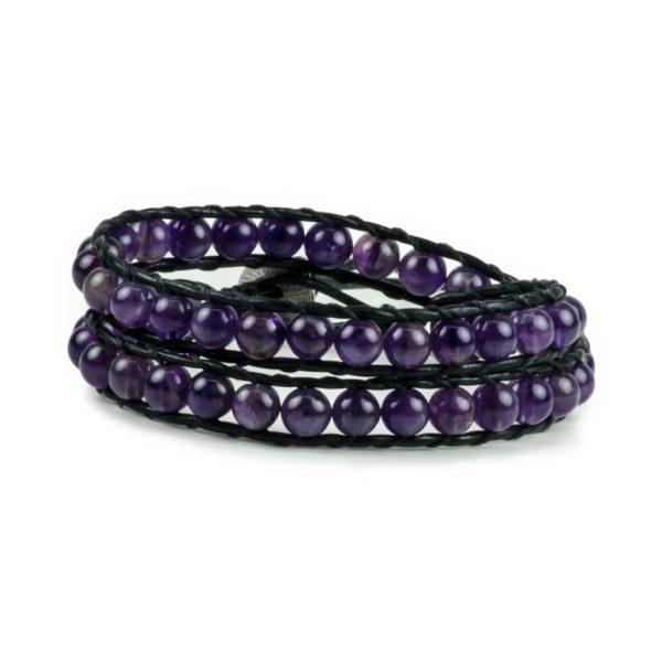 Amethyst Gemstone Handmade Double Wrap Leather Bracelet