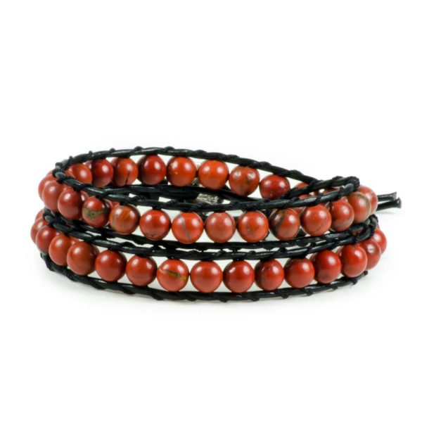 Red Jasper Gemstone Handmade Double Wrap Leather Bracelet