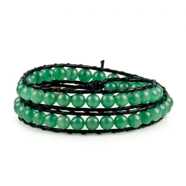 Aventurine Gemstone Handmade Double Wrap Leather Bracelet