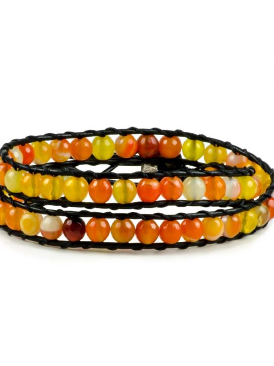 Carnelian Gemstone Handmade Double Wrap Leather Bracelet