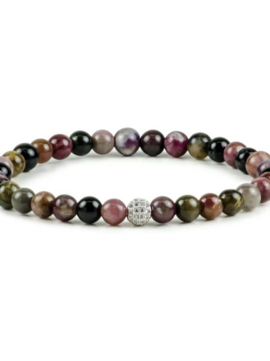 Watermelon Tourmaline Gemstone Crystal Stretch Bracelet