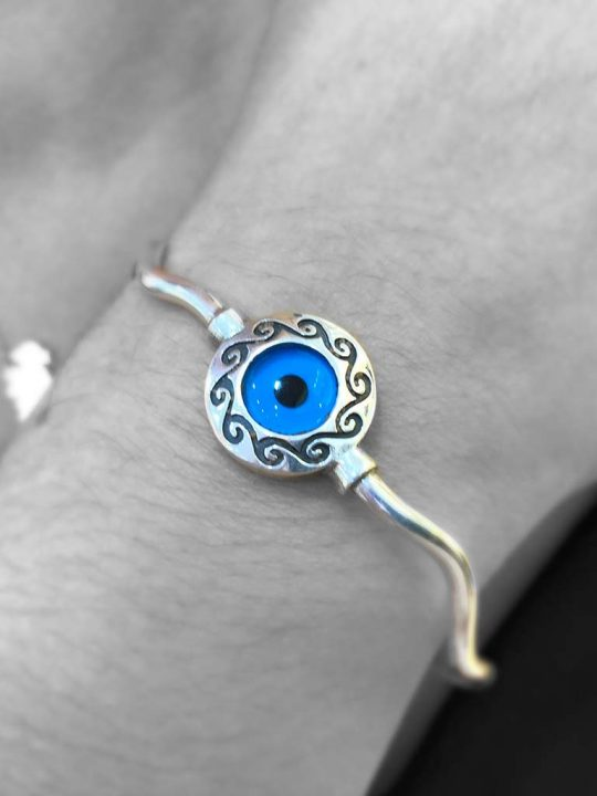 Beautiful Set Evil Eye Bracelet & Earrings Sterling Silver 925