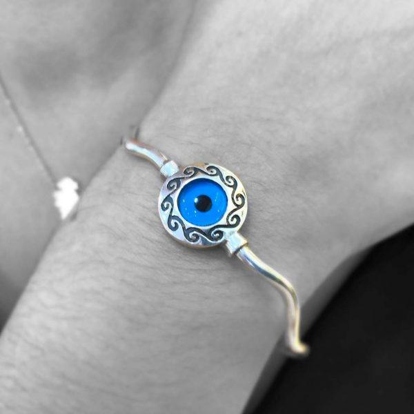 Beautiful Set Evil Eye Bracelet & Earrings Sterling Silver 925