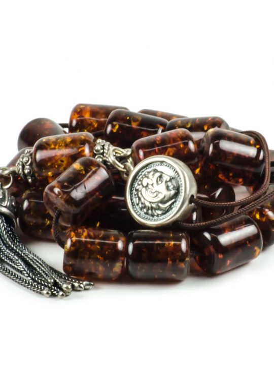 Cognac Baltic Amber Stone Greek Worry Beads Komboloi 38gr Succinite