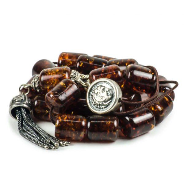 Cognac Baltic Amber Stone Greek Worry Beads Komboloi 38gr Succinite