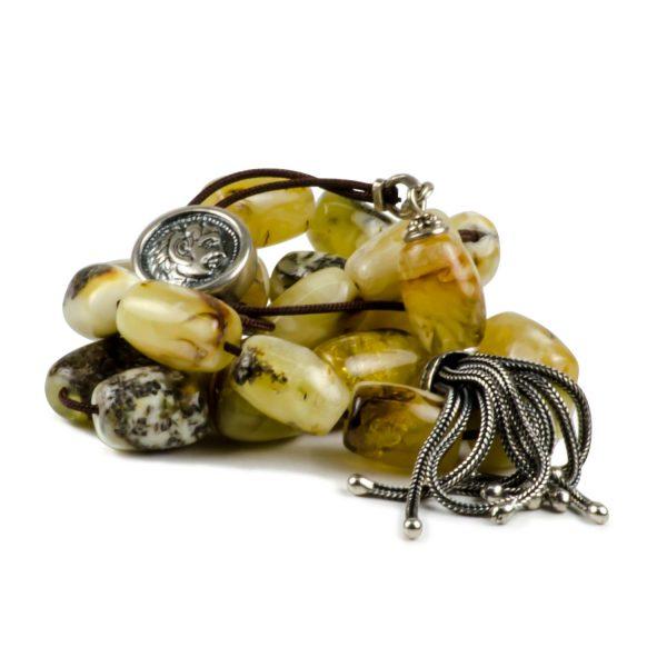 White Baltic Amber Stone Greek Worry Beads Komboloi Alexander the Great 925