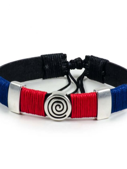 Black Leather Handmade Bracelet Greek Spiral Symbol Navy Blue & Red