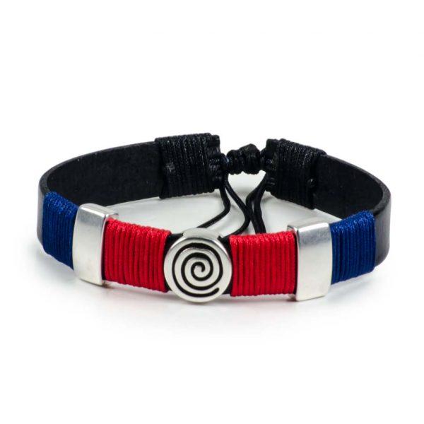 Black Leather Handmade Bracelet Greek Spiral Symbol Navy Blue & Red
