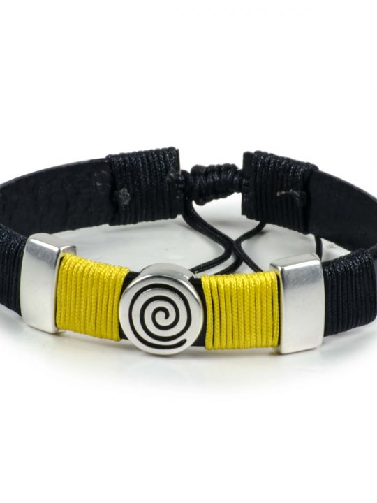 Black Leather Handmade Bracelet Greek Spiral Symbol Black & Yellow