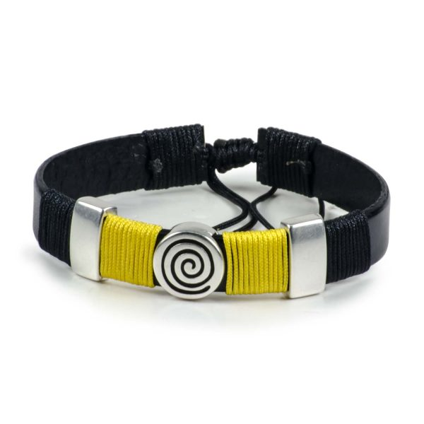 Black Leather Handmade Bracelet Greek Spiral Symbol Black & Yellow