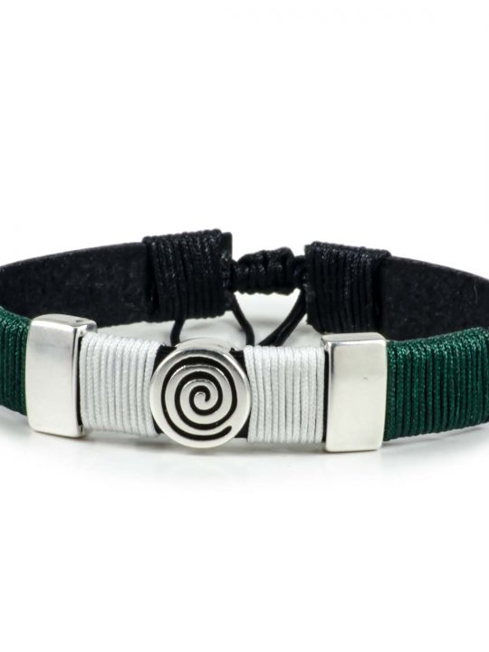 Black Leather Handmade Bracelet Greek Spiral Symbol Green & White
