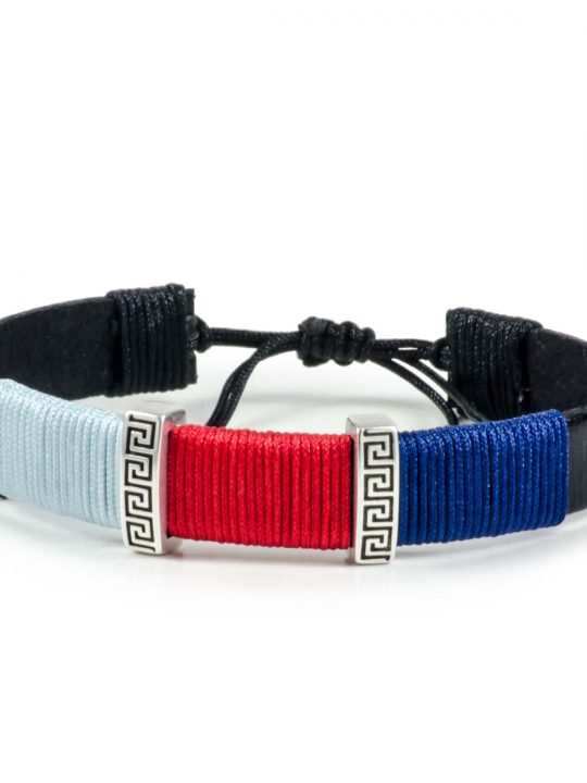 Black Leather Handmade Bracelet Greek Meander Blue, Red & Navy Blue