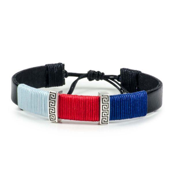 Black Leather Handmade Bracelet Greek Meander Blue, Red & Navy Blue