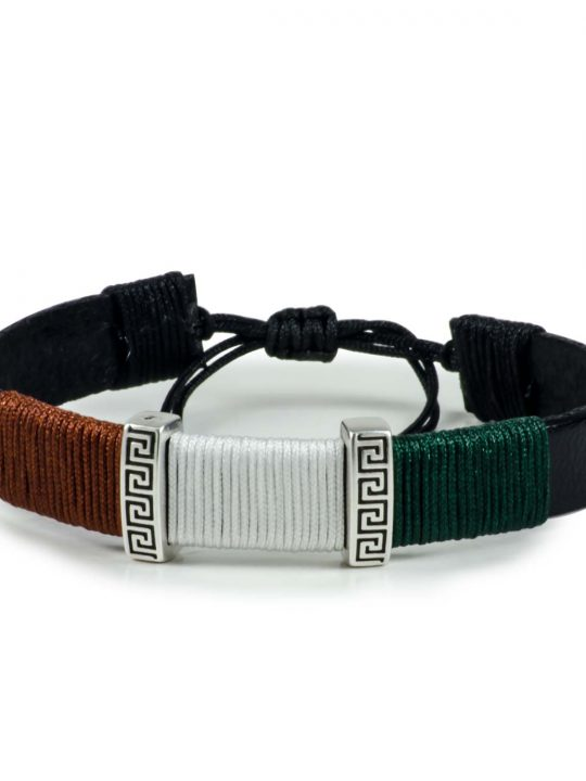 Black Leather Handmade Bracelet Greek Meander Brown, White & Green
