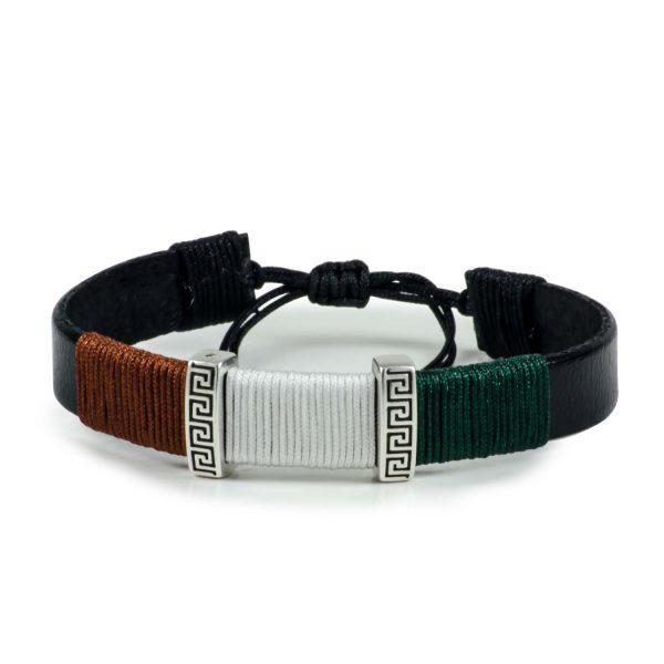 Black Leather Handmade Bracelet Greek Meander Brown, White & Green