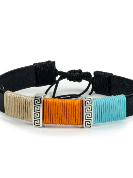 Black Leather Handmade Bracelet Greek Meander Beige, Orange & Blue
