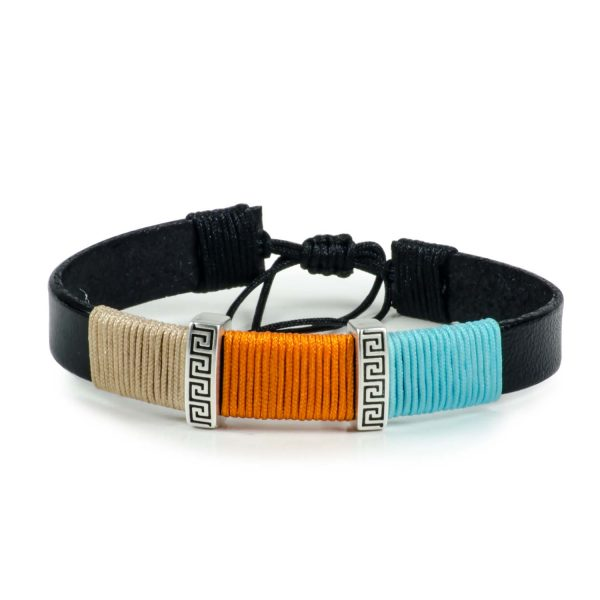 Black Leather Handmade Bracelet Greek Meander Beige, Orange & Blue
