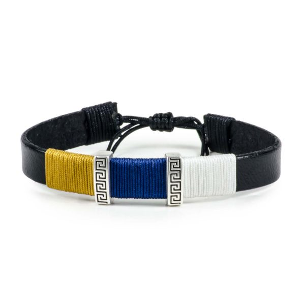 Black Leather Handmade Bracelet Greek Meander Golden, Blue & White