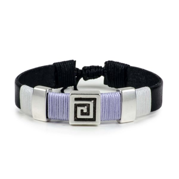Black Leather Handmade Bracelet Greek Meander Purple Lilac & White
